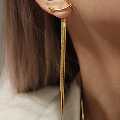 Curved Bar Drop Earrings