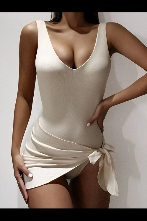 Nude Ribbed One-Piece with Skirt
