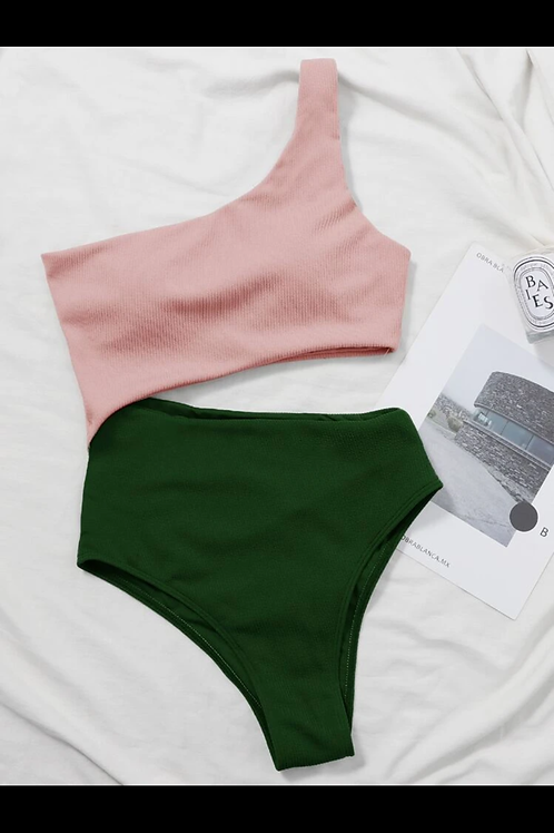 Pink/Green Ribbed One-Piece Swimsuit