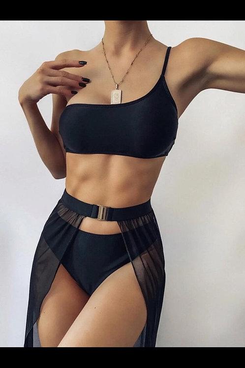 3-piece One Shoulder Bikini & Skirt Coverup
