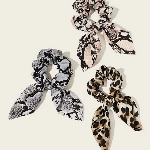 3 pack - Snakeskin & Cheetah Scrunchie