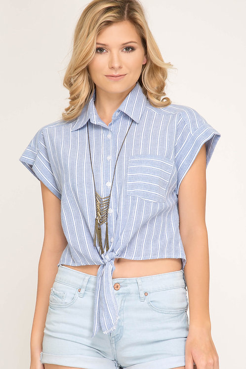 Drop Shoulder Woven Striped Button Down Shirt with Front Tie