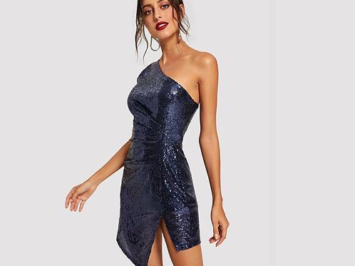 Slit Side One Shoulder Ruched Sequin Dress - Navy