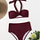 Thumbnail: Halter High Waisted Burgundy Bikini