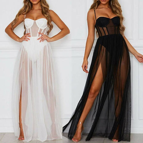 Women's Mesh Sheer Sling Bikini Cover Up Solid Casual Long Dress