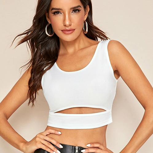 White Cutout Fitted Tank