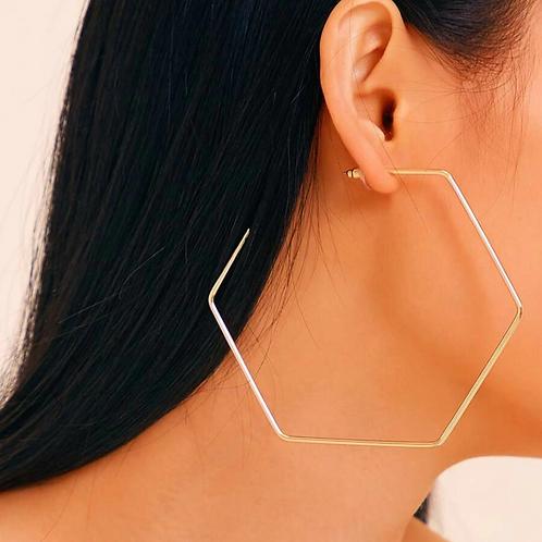 Hexagon Hoop Earrings