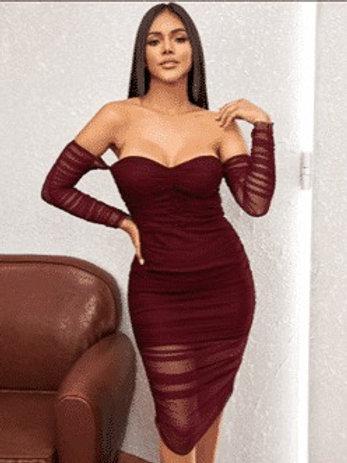 Maroon Scrunch Dress