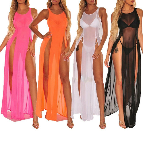 Sleeveless Split Mesh See-Through Maxi Dress Cover Up