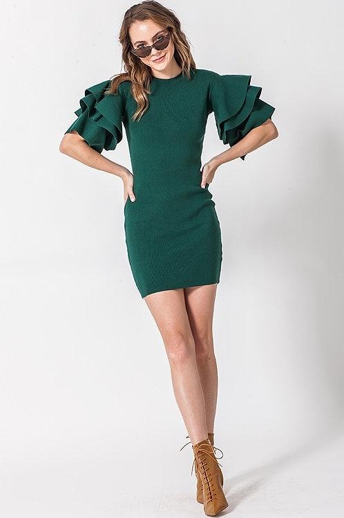 Green Ruffle Sleeve Dress