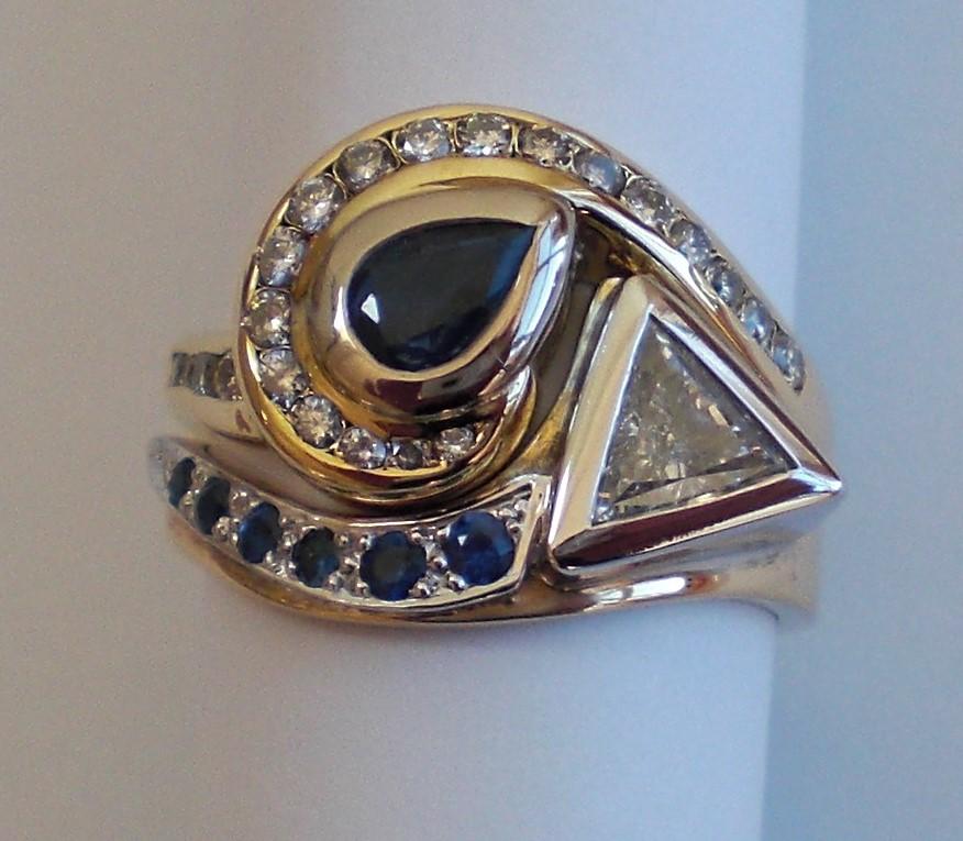 Sapphire & Dia Ring Set