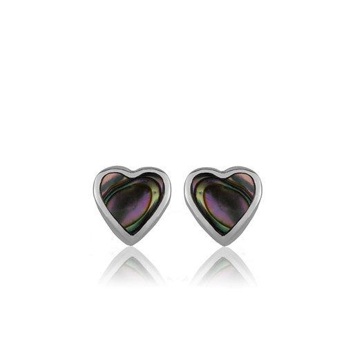 Paua Heart Studs - 3E40005