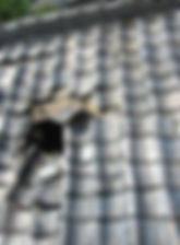 東京都町田市 瓦屋根点検 台風での屋根面穴