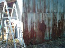 稲城市 外壁板金波板 錆穴 引き 施工前