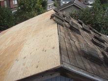 横浜市港北区 屋根葺き替え工事 野地板 片面