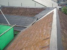 川崎市多摩区 屋根葺き替えリフォーム 施工中 ルーフィング 軒先 棟 谷 完成
