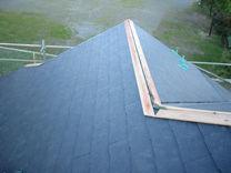 川崎市高津区 コロニアル スレート 屋根工事 施工中 棟 設置