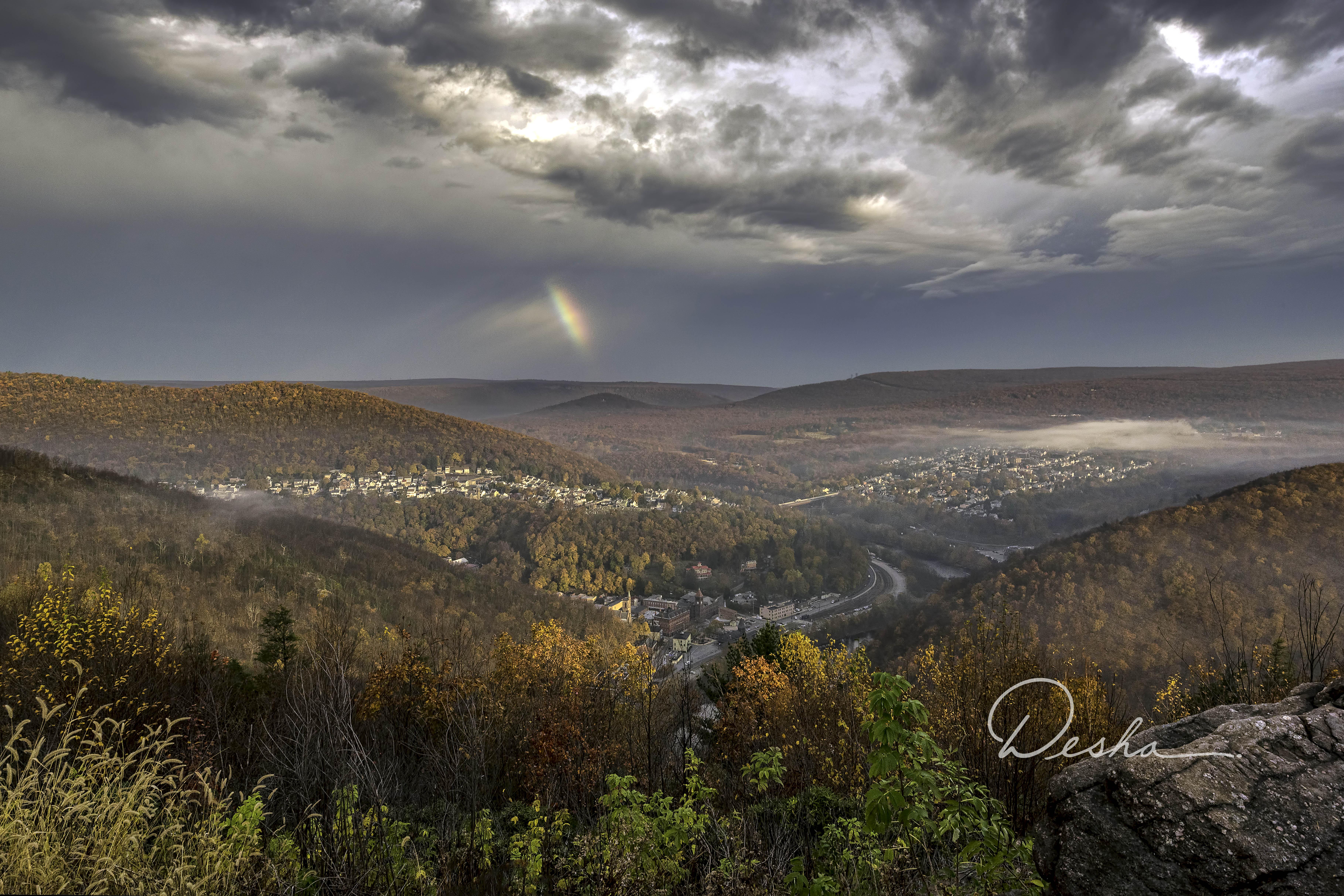 Rainbow over Jim Thorpe from Flagstaff