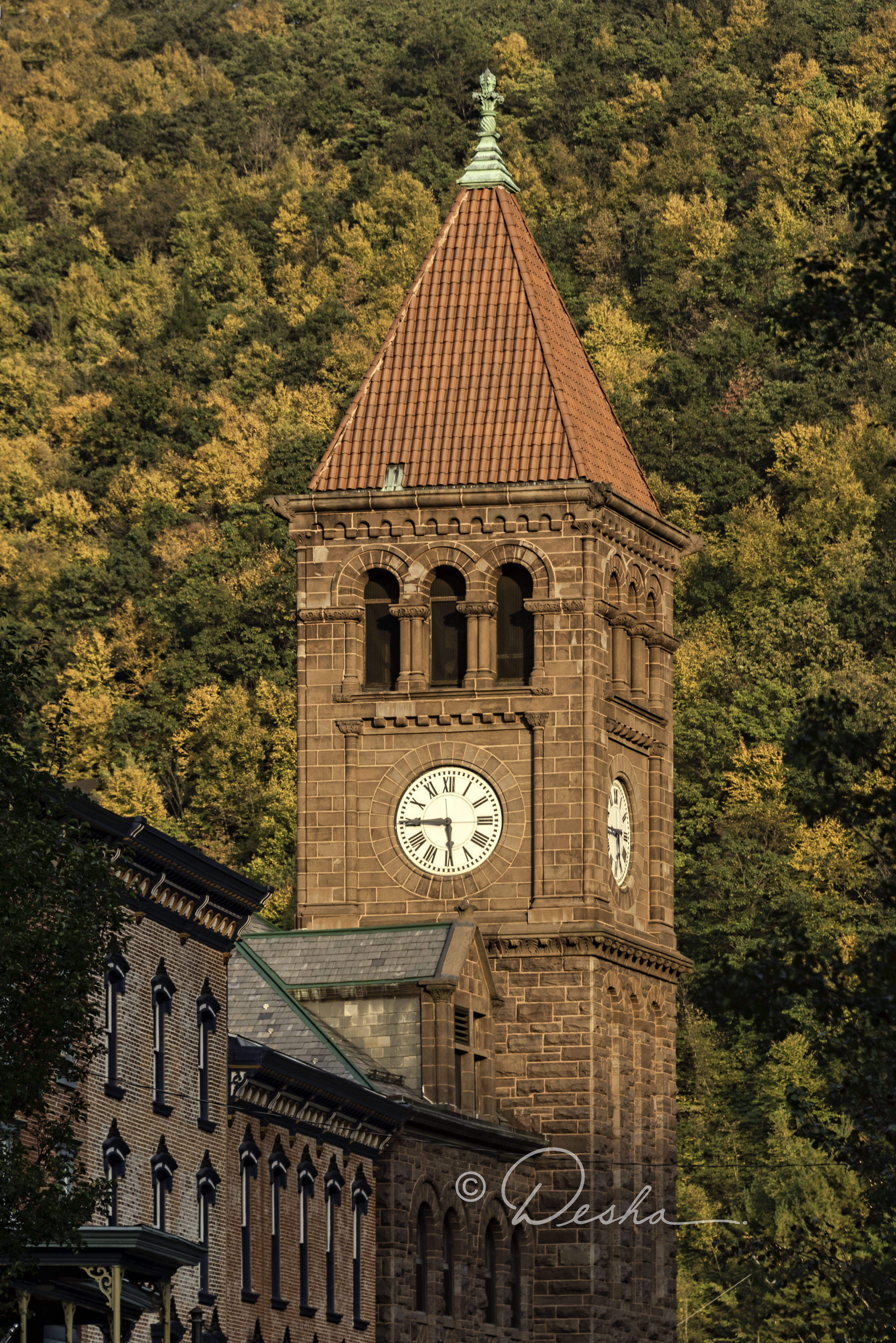 Courthouse Clock Tower with Autumn