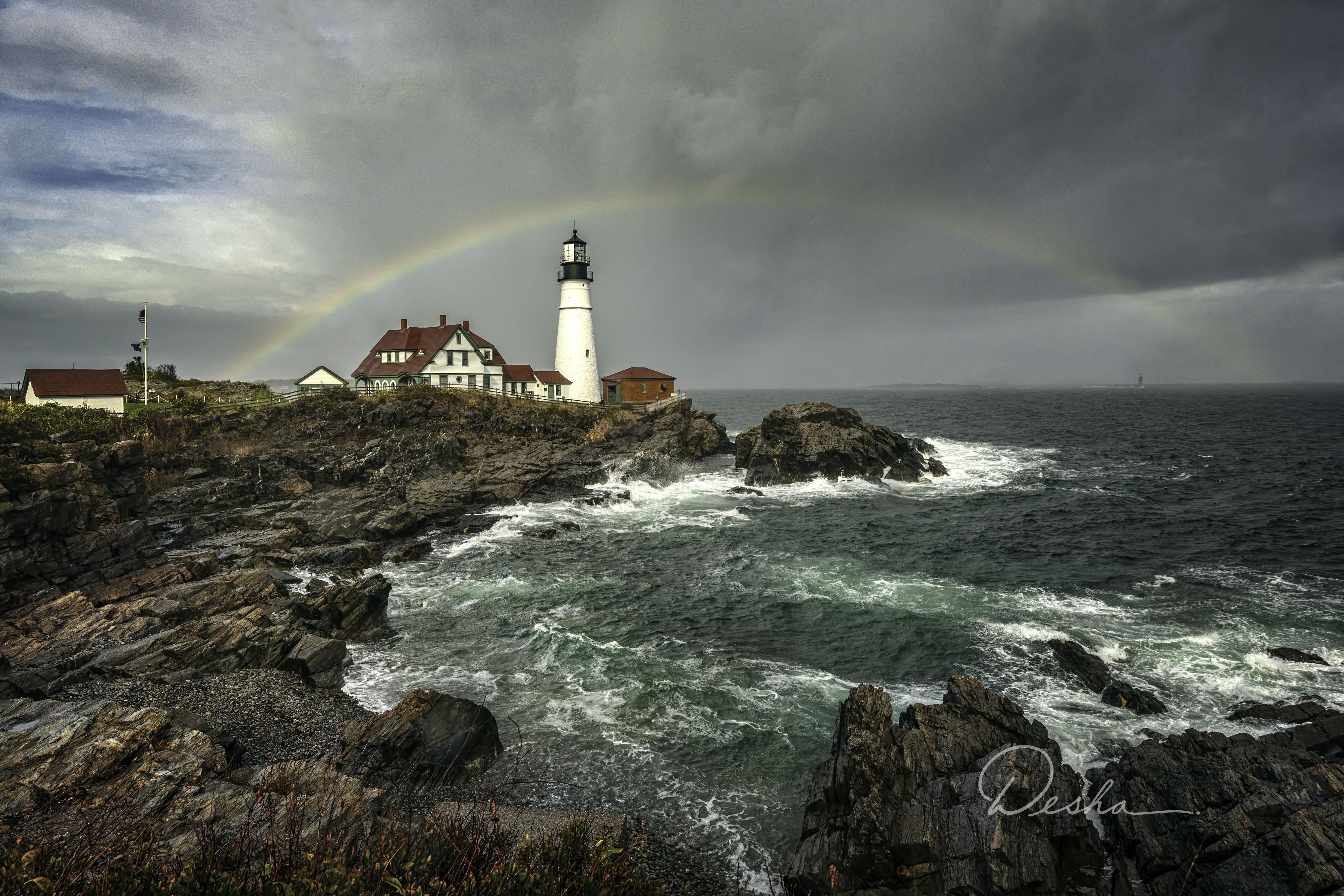 Portland Head Light with a Rainbow