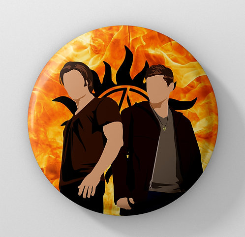 Supernatural - Sam and Dean Winchester Button Badge