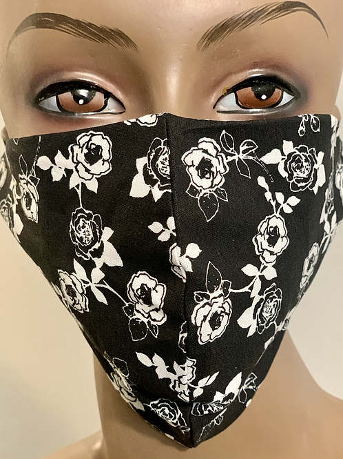 Black and White Rose Mask