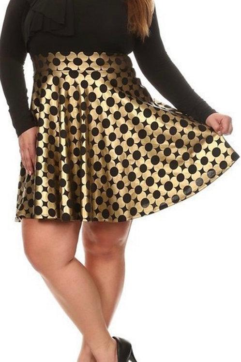 Multi-fabric flare dress