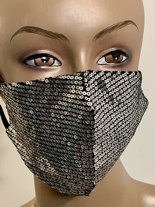 Silver Sequence Bling Mask