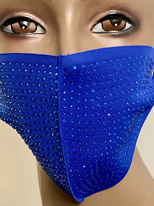 Deep Blue Rhinestone Mask