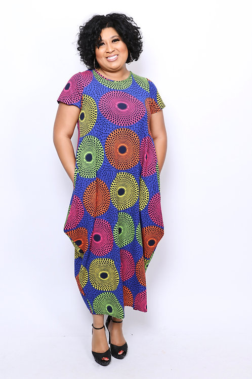 Multi-Color Circle Dress and High Low