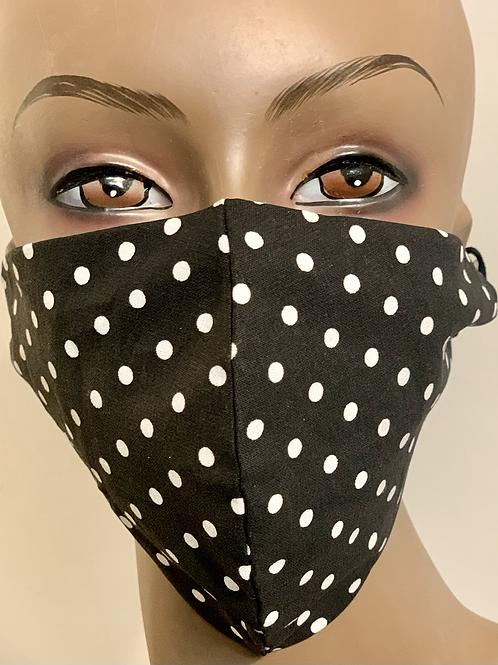 Classic Black and White Poka Dot Mask
