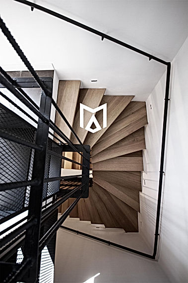 suspended wooden staircase