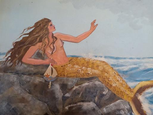 Μία Γοργόνα στη στεριά: Σπάνια τοιχογραφία σε ταβέρνα της Συκής