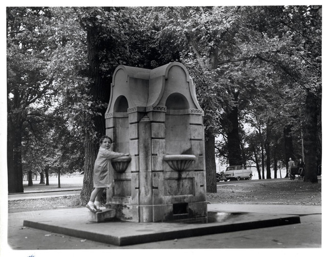 Tooting Common: drinking fountain, 1967. Photo by A. Janik. Credit Wandsworth Heritage Service