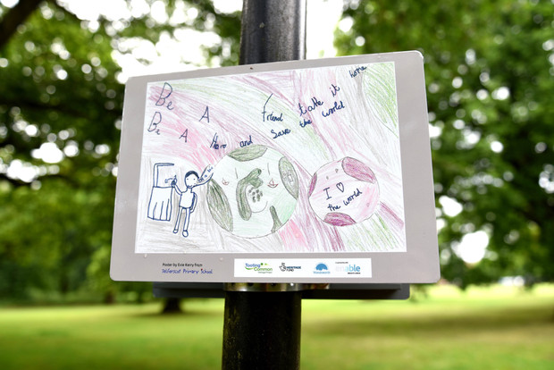 Students' posters urge Tooting Common users not to drop litter