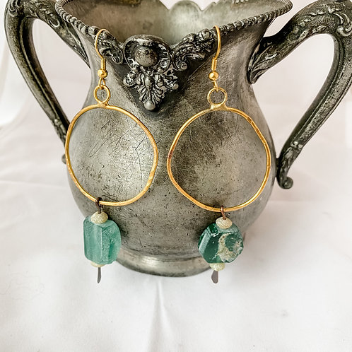 Hammered Hoop and Glass Earrings