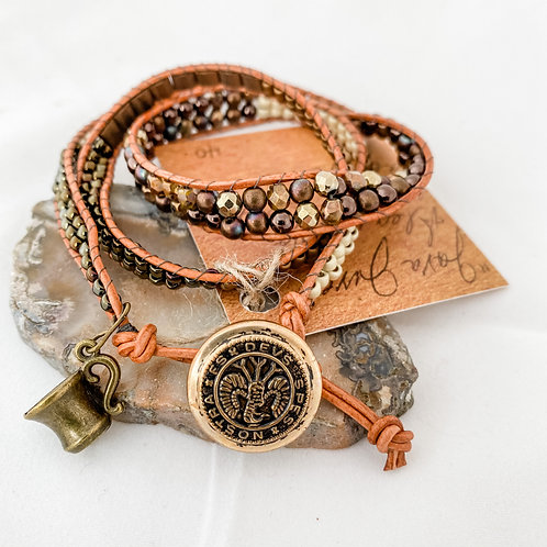 Java Jive Handmade Beaded Wrap Bracelet