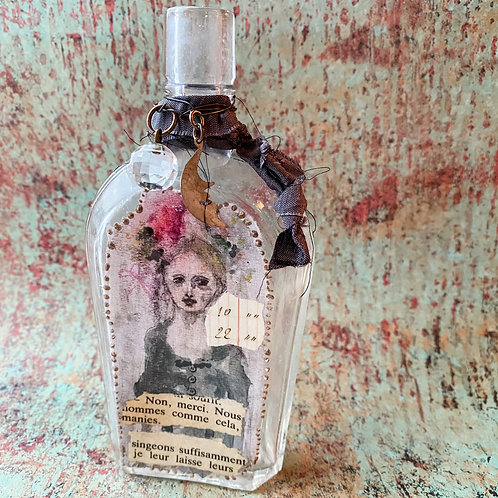 French Girl Collage Bottle