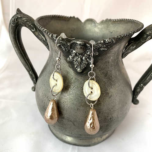 Buttons & Pearls Earrings