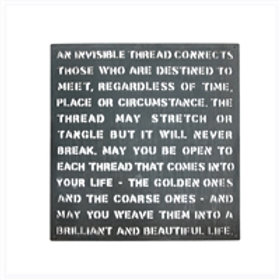 An Invisible Thread Metal Sign