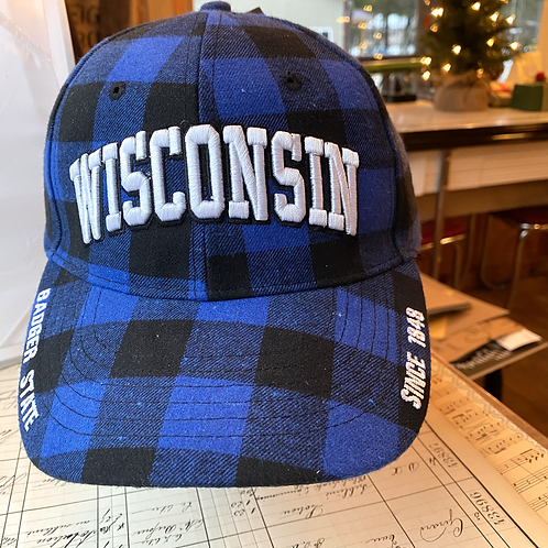 Wisconsin Blue Flannel Cap