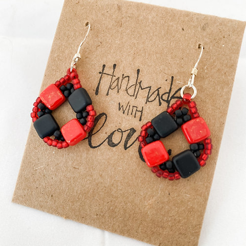 Handmade with Love Buffalo Plaid Hand Beaded Earrings
