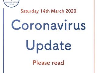 Coronavirus Update - 14/03/2020