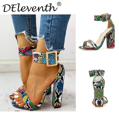Multi-color Snake Skin Chunky Heel Sandals