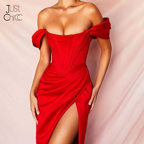Justchicc Off Shoulder Sexy High Split Backless Elegant Party Dresses