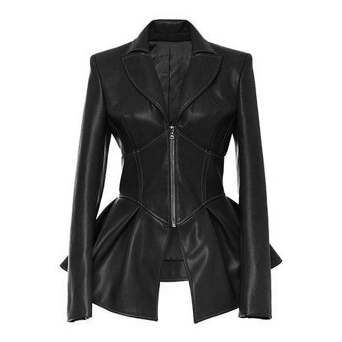 Queens Vegan Leather Corset Style Waist Jacket