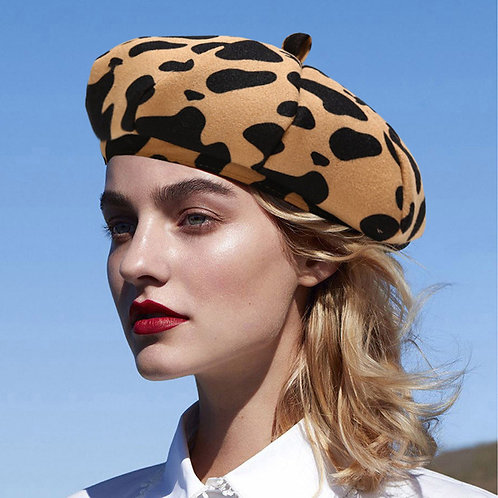 Women Winter Vintage Wool Beret Hat French Style Cow Print