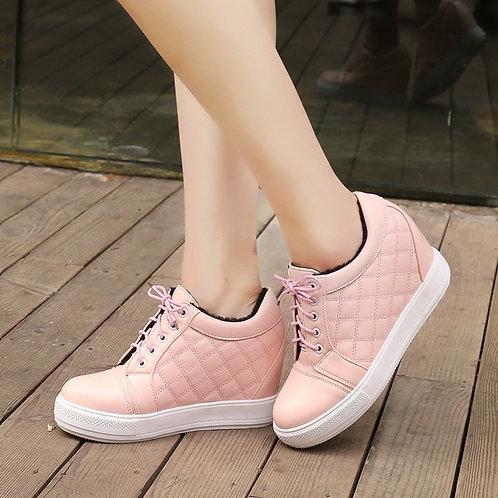 White Pink Wedge Hidden High Heels Sneakers