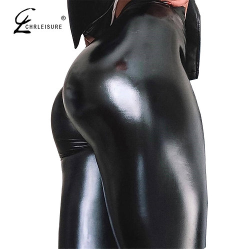 High waist sexy leather pants womens skinny elastic jeggings
