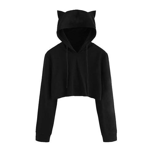 Warm Kitty Crop Tops Hoodie